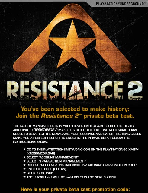 Resistance 2 Beta Opt In Information